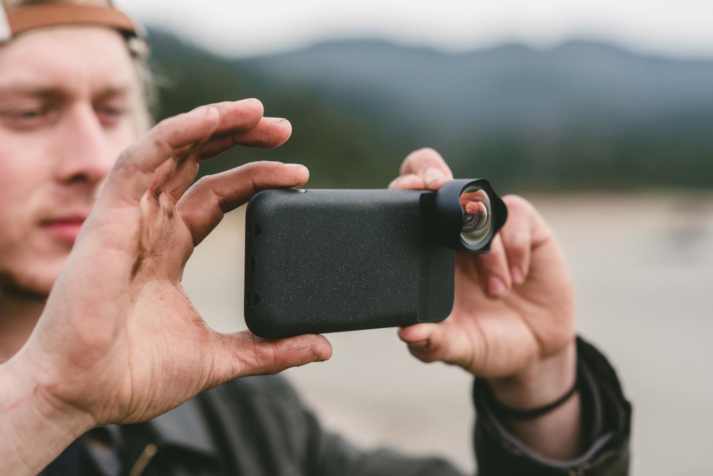 Customer using V2 lens and case